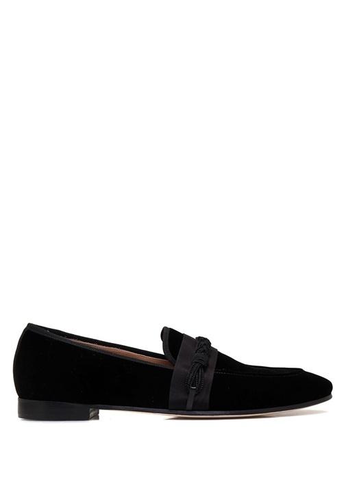 Siyah Deri Bantlı Kadife Erkek Ayakkabı