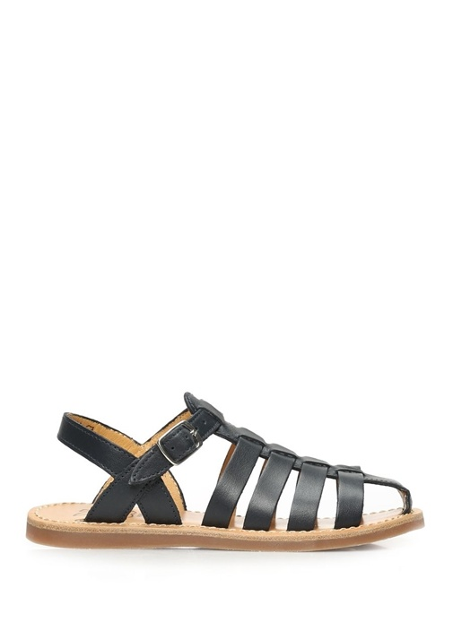 Lacivert Bantlı Unisex Çocuk Deri Sandalet