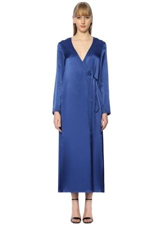 Jovonna Kadın Celton Mavi Maksi Anvelop Saten Elbise Lacivert 8 UK