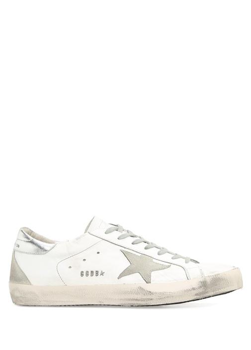 Golden Goose Beyaz ERKEK  Superstar Beyaz Deri Erkek Sneaker 428642 Beymen