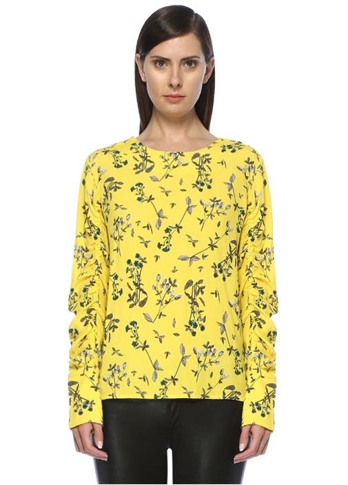 Tiffany Sarı Çiçekli Kolları Büzgülü Bluz