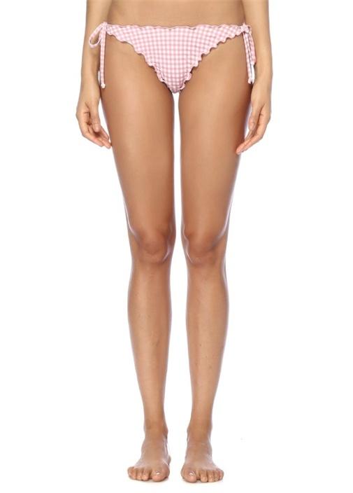 Oline Pembe Pötikareli Fırfırlı Bikini Altı