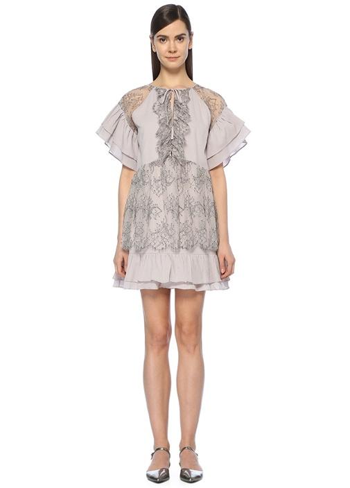 Omni Lila Dantelli Mini Elbise