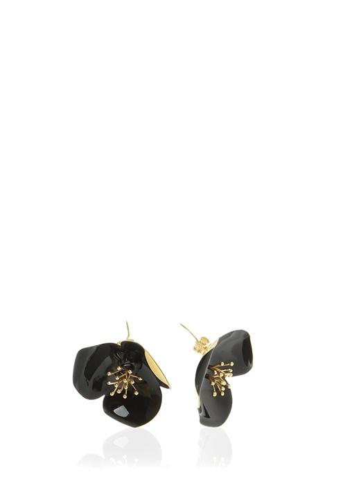 Siyah Çiçek Formlu Kadın Küpe