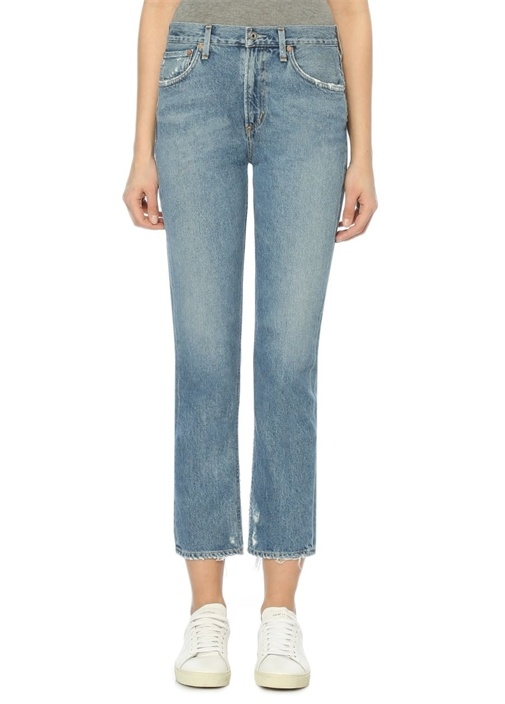 Cigarette Mavi Normal Bel Jean Pantolon