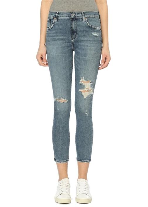 Sophie Mavi Normal Bel Slim Paça Jean Pantolon