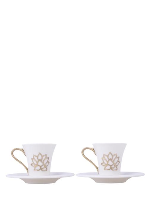 Beyaz Gold 2li Porselen Kahve Fincanı Seti