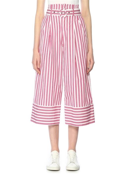 Pembe Beyaz Çizgili Yüksek Bel Pantolon