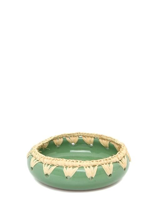 Remequin Yeşil Kenarları Örgülü SeramikKase