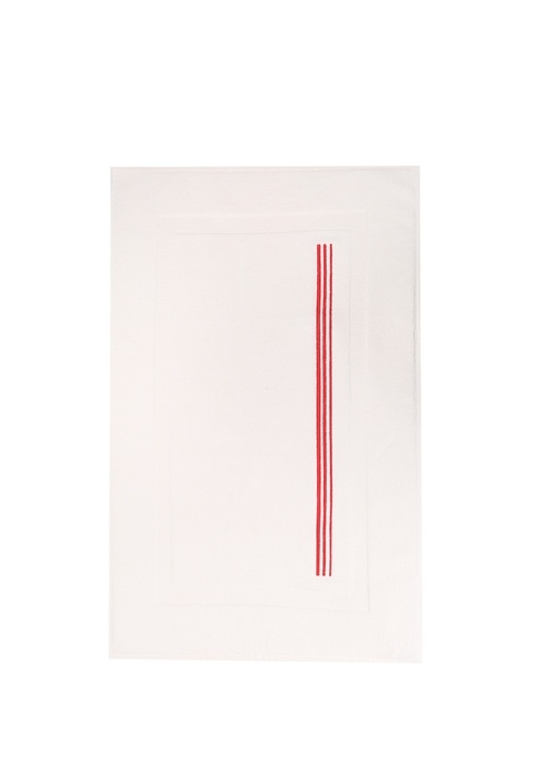 Beyaz Kırmızı 3 Çizgili Banyo Paspası