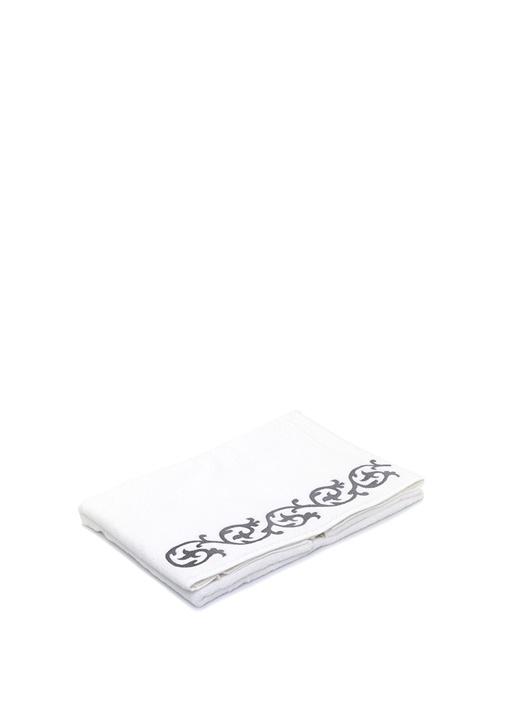 Beyaz Lale Nakışlı Banyo Havlusu
