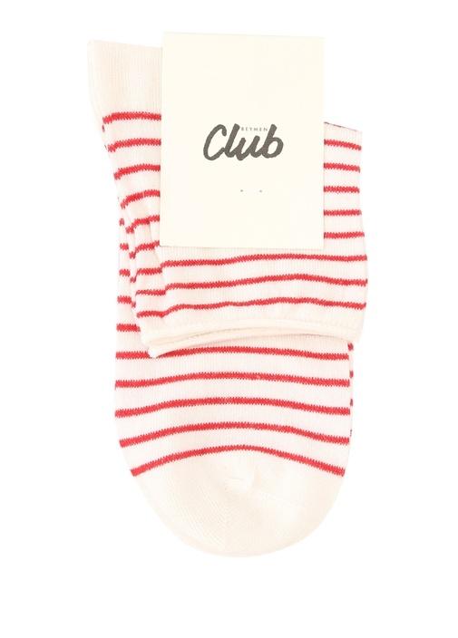 Kırmızı Çizgili Kadın Soket Çorap