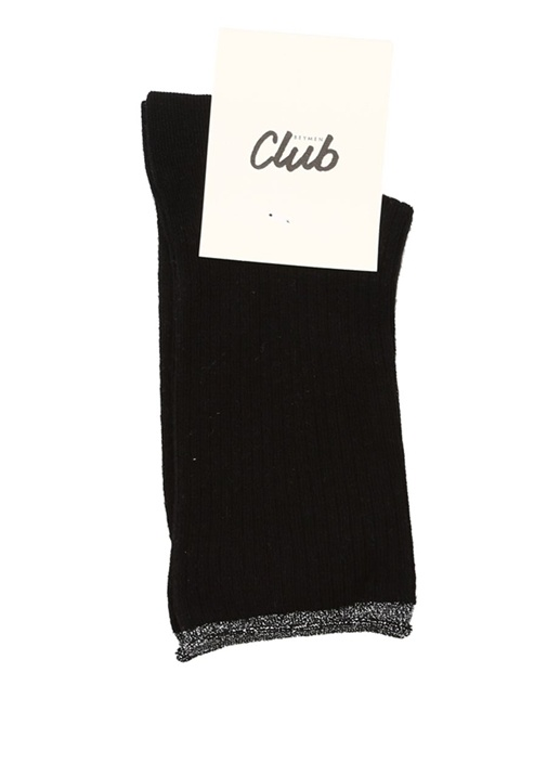 Siyah Ribli Simli Kadın Çorap