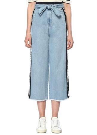Yüksek Bel Şeritli Bol Paça Crop Jean Pantolon