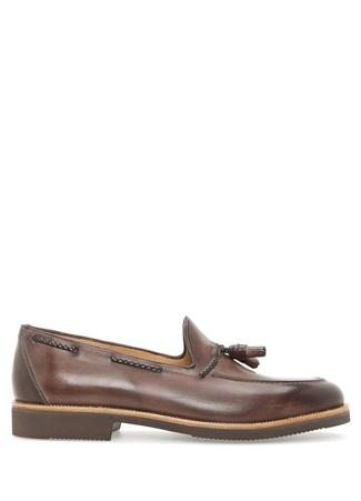 Kahverengi Lastik Tabanlı Erkek Deri Ayakkabı