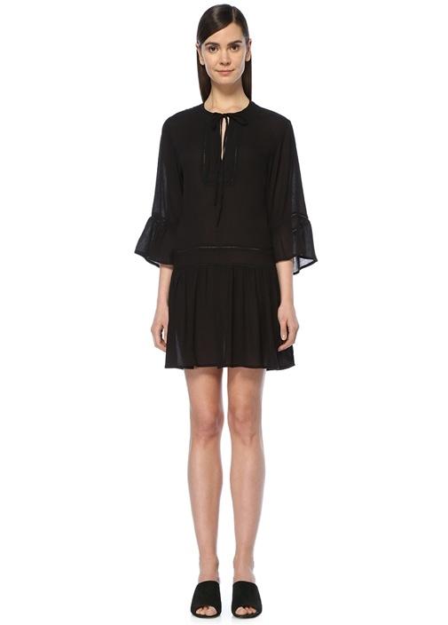 Agata Siyah Bağcıklı Mini Plaj Elbisesi