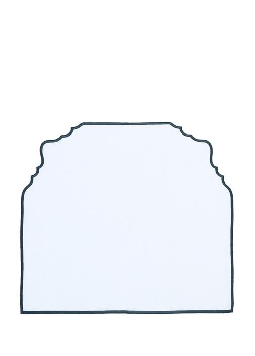 Beyaz Kıvrım Detaylı Keten Amerikan Servisi