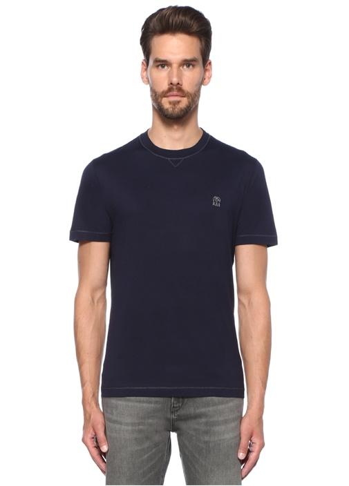 Lacivert Nakış Detaylı Basic T-shirt