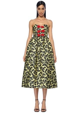 Erdem Kadın Peony Sarı Çiçek Nakışlı Midi Elbise 8 US Ürün Resmi