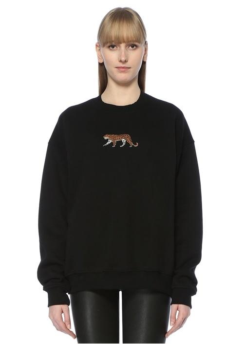 Siyah Nakışlı Oversized Sweatshirt