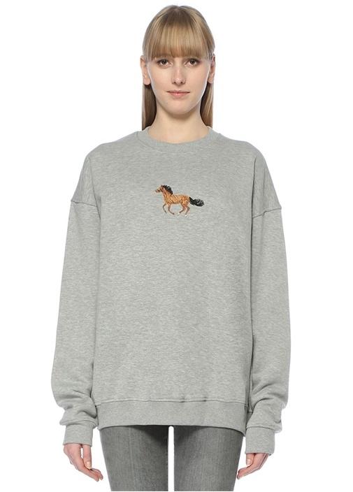 Gri Nakışlı Oversized Sweatshirt
