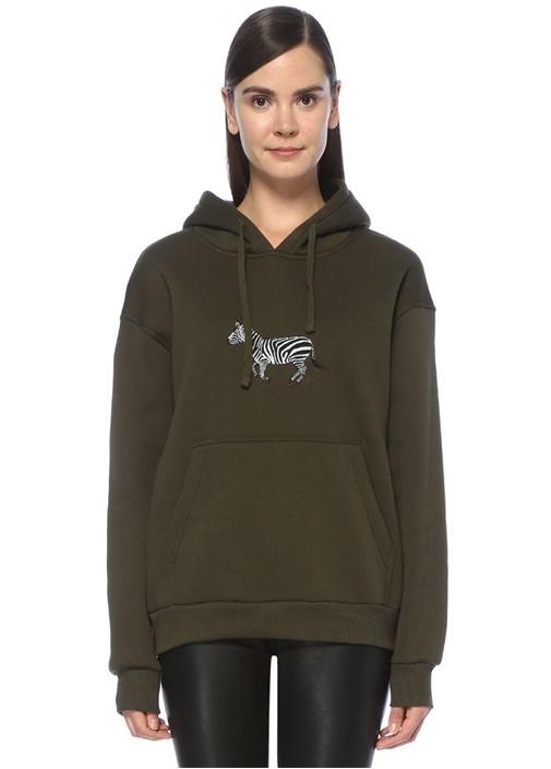 Haki Kapüşonlu Zebra Nakışlı Oversize Sweatshirt