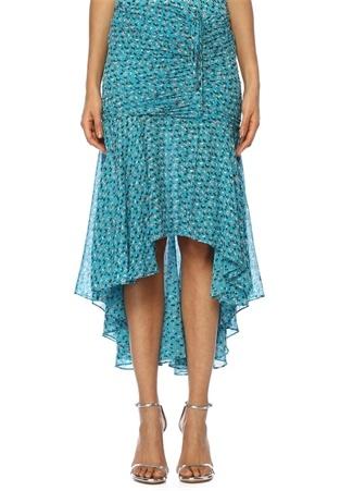 Veronica Beard Kadın Sevilla Mavi Çiçekli Büzgülü Midi İpek Etek 4 US