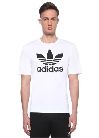 Trefoil Beyaz Bisiklet Yaka Baskılı T-shirt