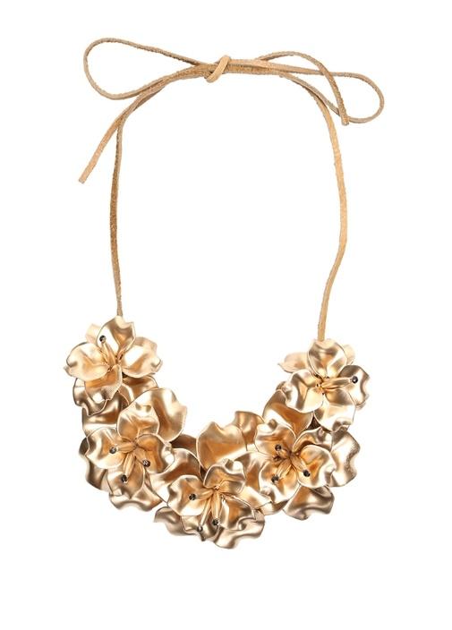 Gold Çiçek Formlu Kolye