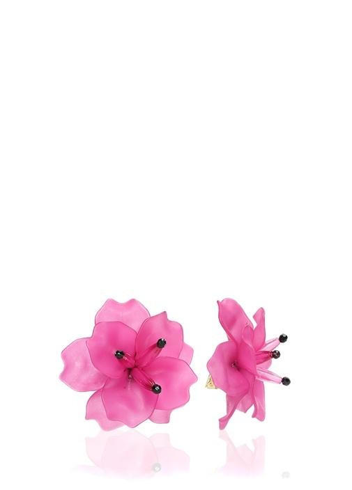 Fuşya Çiçek Formlu Sallantılı Kadın Küpe