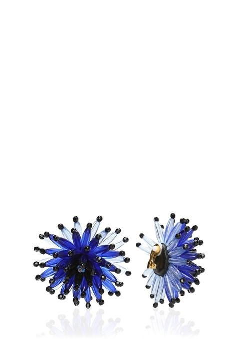 Lacivert Çiçek Formlu Sallantılı Kadın Küpe