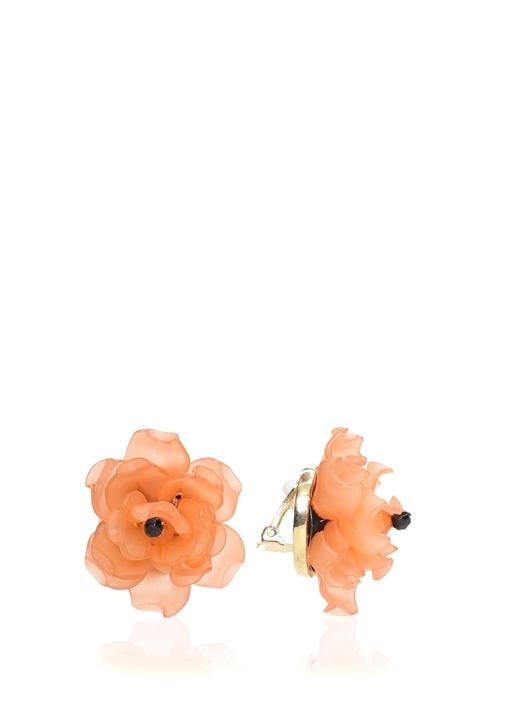 Turuncu Çiçek Formlu Küpe