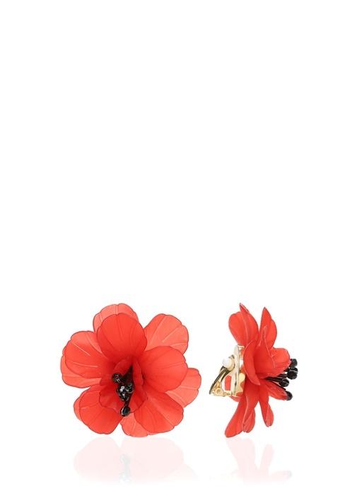Kırmızı Çiçek Formlu Küpe