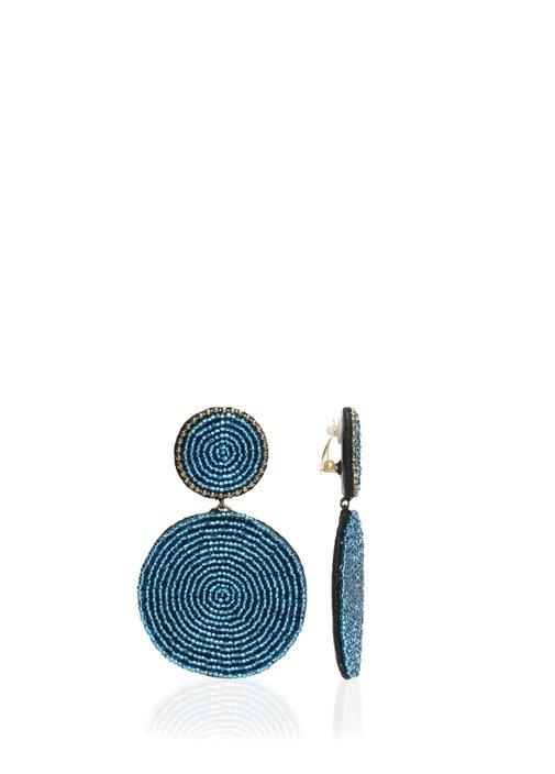 Mavi Yuvarlak Formlu Sallantılı Küpe