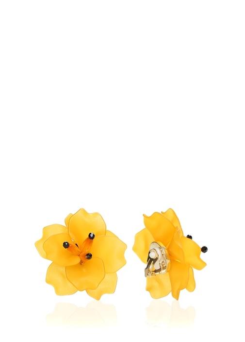 Sarı Çiçek Formlu Kadın Küpe