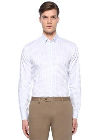 Custom Fit Beyaz Ekose Desenli Düğmeli Yaka Gömlek