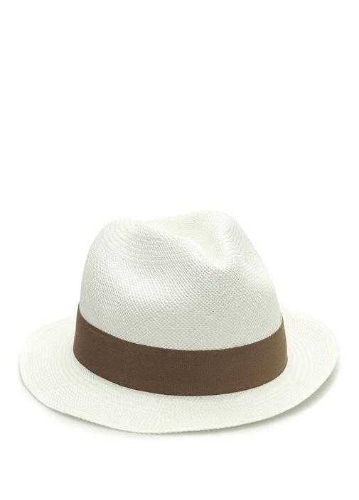 Emporio Beyaz Bantlı Örgü Dokulu Erkek Hasır Şapka