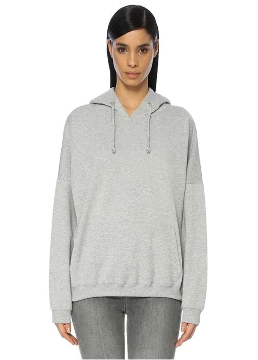 Gri Kapüşonlu Düşük Kol Sweatshirt
