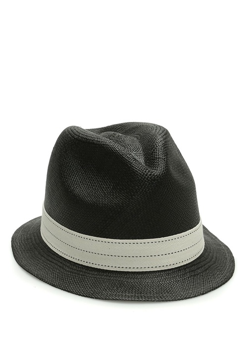 Emporio Siyah Bantlı Örgü Dokulu Erkek Hasır Şapka