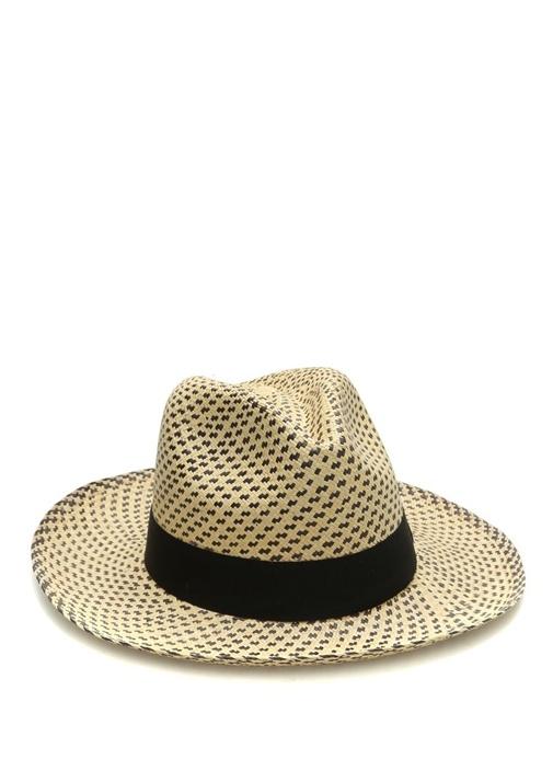 Neige Siyah Ekru Desenli Erkek Hasır Şapka