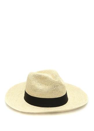Erkek Emporio Bej Bantlı Örgü Dokulu Hasır Şapka L EU