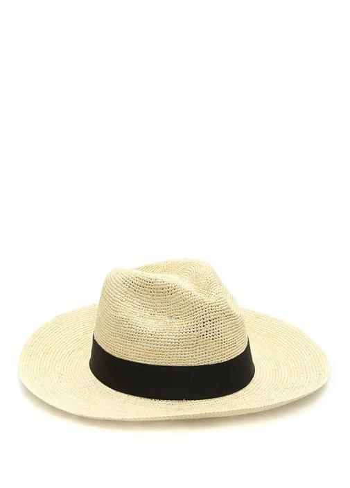 Emporio Bej Bantlı Örgü Dokulu Erkek Hasır Şapka