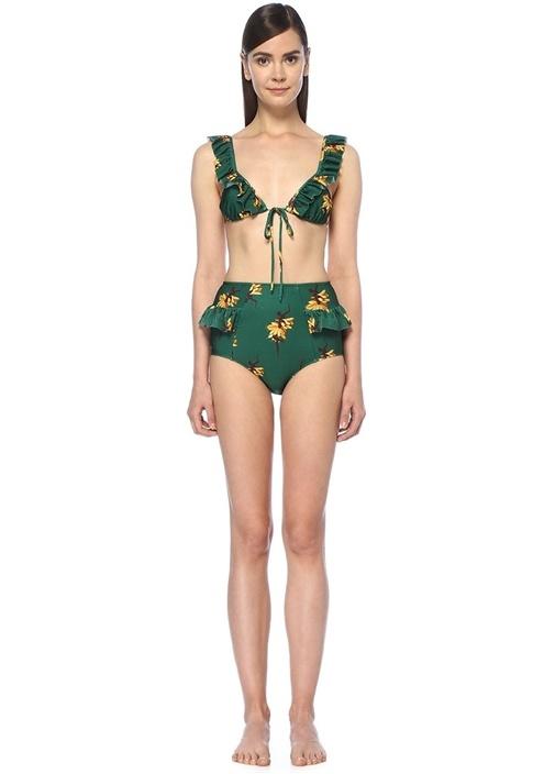 Josephine Yeşil Çiçekli Fırfırlı BikiniTakımı