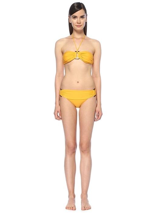 Sarı Toka Detaylı Straplez Bikini Takımı