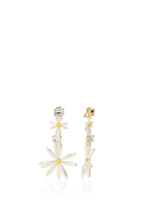 Olivias Beyaz Çiçek Formlu Klips Kapatmalı Küpe