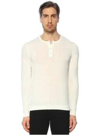 Erkek Polo Yaka Sweatshirt Beyaz 50 IT