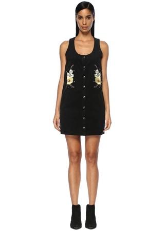 Glamorous Kadın Siyah Çiçek Nakışlı Kadife Mini Elbise XS ST