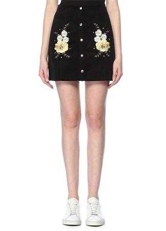 Glamorous Kadın Siyah Çiçek Nakışlı Mini Kadife Etek M ST