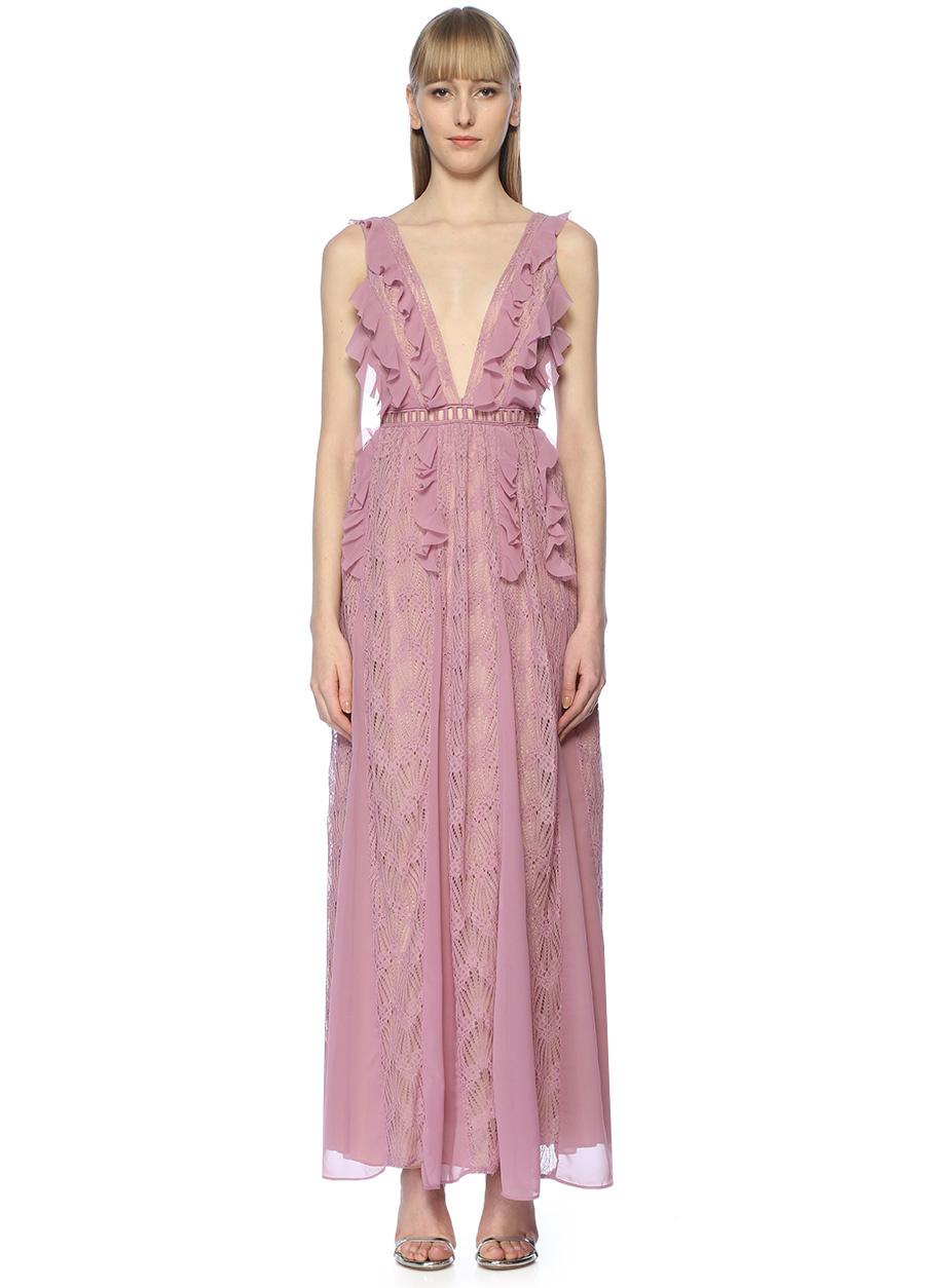 True Decadence Lila V Yaka Fırfırlı Dantelli Maksi Abiye Elbise