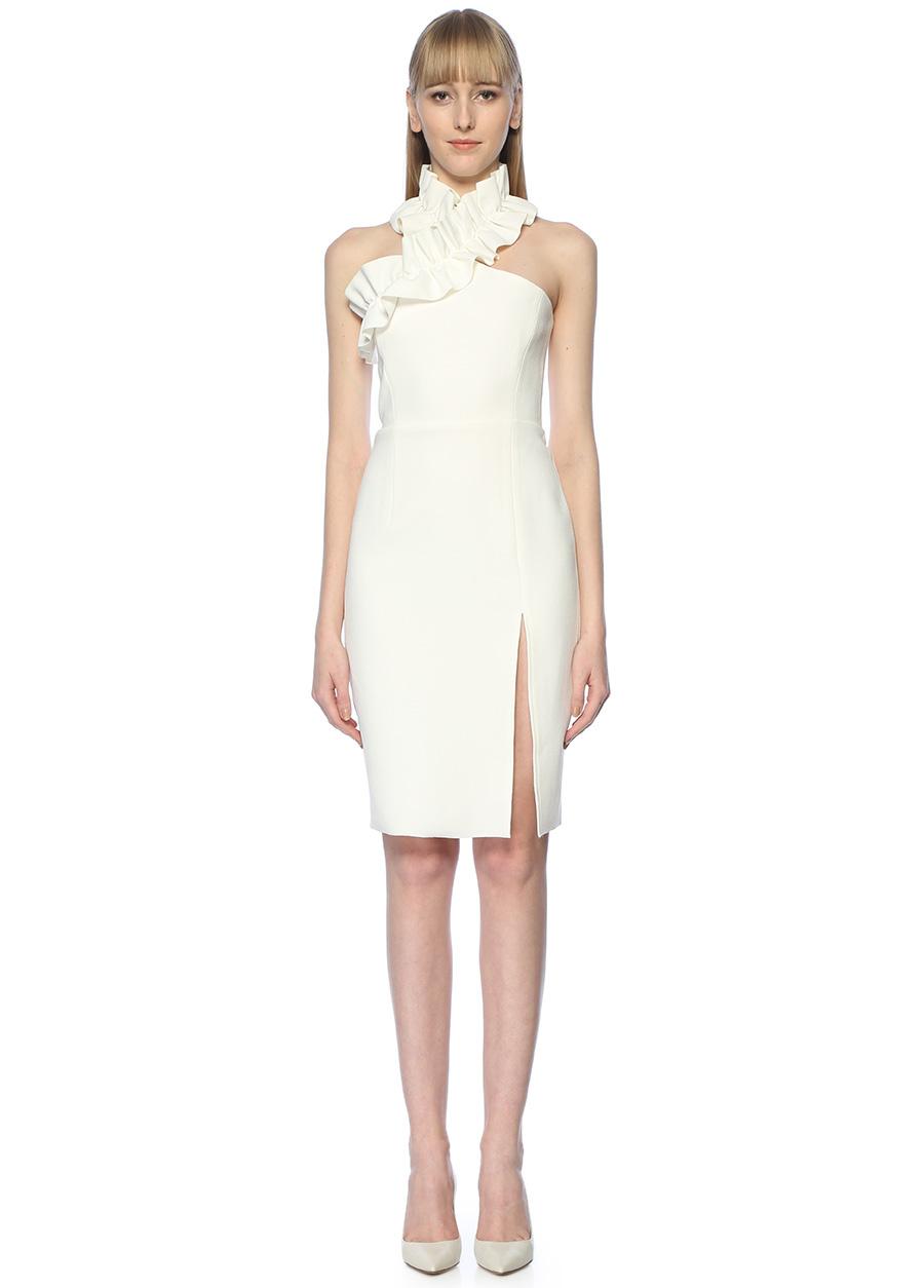 True Decadence Beyaz Tek Omuzlu Fırfırlı Midi Kokteyl Elbise